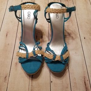 Women's Teal Ankle strap wedge heels size 11